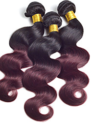 Ombre Human Hair Weave Peruvian Virgin Hair Body Wave 3pc 1B/99j Ombre Peruvian Hair Bundles Ombre Hair Extensions