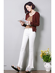 Women's High Rise Micro-elastic Jeans Pants,Simple Bootcut Solid