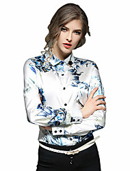 Women's Casual/Daily Work Chinoiserie Spring Summer Shirt,Embroidered Stand ¾ Sleeve White Cotton Medium