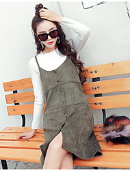 2017 spring new Korean loose knit vest strap dress long section of small suede strap dress