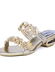 Feminino Chinelos e flip-flops Sandálias Conforto Couro Ecológico Primavera Verão Casual Conforto Gliter com Brilho RasteiroDourado Preto
