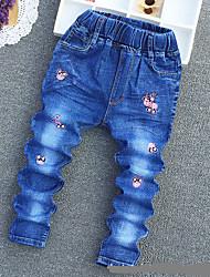 Masculino Simples Cintura Média Inelástico Jeans Calças,Solto Animal,Jacquard