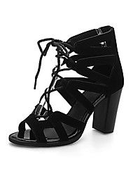 Feminino-Sandálias-Buraco Shoes-Salto Grosso-Preto Bege-Couro Ecológico-Escritório & Trabalho Social Festas & Noite