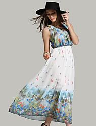 sinal verão nova perna europeu plissado vestido em torno do pescoço chiffon impresso grande vestido floral xi Miya