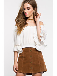 Europe and America sexy strapless short-sleeved shirt collar chiffon shirt wide Song Leisi splicing