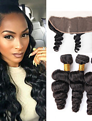 Vinsteen Loose Wave Ear to Ear Lace Frontal Closure With Hair Bundles 7a Brazilian Virgin Hair 4pcs Natural Color Hair Bundles With 13X4 Lace Closure