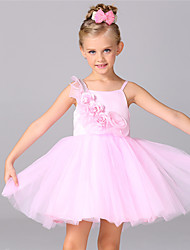 Ball Gown Knee-length Flower Girl Dress - Chiffon Cotton Organza Satin Tulle Sleeveless Straps with Bow(s) Flower(s)