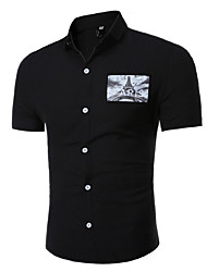Men's Fashion Casual Pocket Pattern Slim Short-Sleeved Shirt