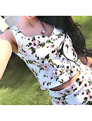 Real shot! Summer Dress vest Slim was thin small fresh floral dress suit