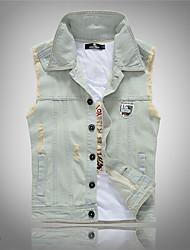 Men's Casual/Daily Simple Spring Tank Top,Solid Shirt Collar Sleeveless Cotton Medium