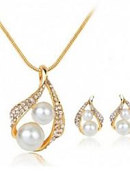Mujer Juego de Joyas Cristal Diseño Básico joyería de disfraz Perla Artificial Brillante Legierung Gota 1 Collar 1 Par de Pendientes Para