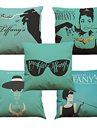 Set of 5 Audrey Hepburn Pattern  Linen Pillowcase Sofa Home Decor Cushion Cover (18*18inch)