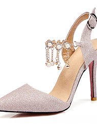 Sandals Summer Comfort Leatherette Office & Career Dress Casual Stiletto Heel Imitation Pearl Buckle Sliver Rose Pink Nude