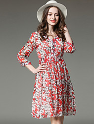 SUOQI Spring Summer Women For Dresses Going out Casual V Neck  Sleeve Print Chiffon Dress