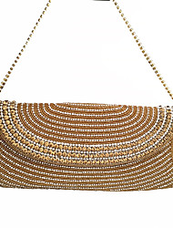 Women Stylish Gold/Silver/Black Beads Full Diamonds Hand Clutches