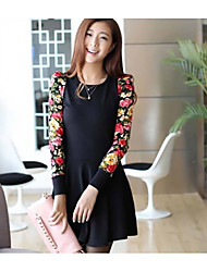 Hitz OL commuter Slim long-sleeved dress stitching Floral