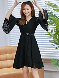 Sign spring and summer v-neck lace dress sleeve dress in