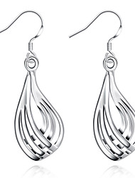 Concise Silver Plated Third Line Ripple Waterdrop Dangle Earrings for Party Women Jewelry Accessiories