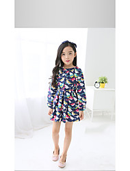 Girl's Casual/Daily Animal Print Dress,Cotton Spring Long Sleeve