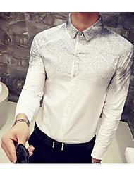 Herren Solide Einfach Arbeit T-shirt,Klassischer Kragen Langarm Baumwolle Polyester