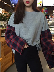 Plaid stitching round neck long-sleeved T Sign