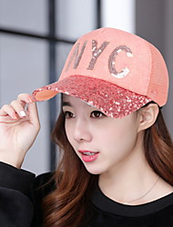 Baseball Cap Outdoor Sunscreen Sunset Lace Letter NYC Women Snapback  Hats