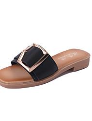 Women's Slippers & Flip-Flops Summer T-Strap Leatherette Dress Casual Flat Heel Metallic toe Walking