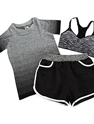 Women's Short Sleeve Running Clothing Sets/Suits Breathable Spring Summer Fall/Autumn Sports WearExercise & Fitness Leisure Sports