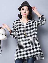 Women's Going out Cute T-shirt,Check Round Neck Long Sleeve Linen