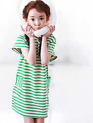 Girl's Casual/Daily Striped Dress,Cotton Spring Short Sleeve