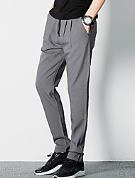 Masculino Simples Cintura Média Micro-Elástico Chinos Calças,Delgado Cor Única