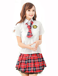Cosplay Costumes Student/School Uniform Festival/Holiday Halloween Costumes Solid Carnival Female Cotton