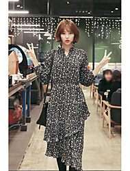 NEW ITEMS Korean small floral lapel waist was thin dress