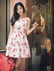 Women's Casual/Daily A Line Dress,Floral Round Neck Above Knee Sleeveless Polyester Spring Summer High Rise Micro-elastic Thin