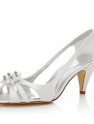 Feminino-Sapatos De Casamento-Conforto Sapatos clube Sapatos Dyeable-Salto Cone-Ivory-Seda-Casamento Ar-Livre Escritório & Trabalho