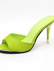 Feminino-Chinelos e flip-flops-Sapatos clube Conforto-Salto Agulha-Branco Preto Verde Rosa claro-Couro Envernizado-Casual Social