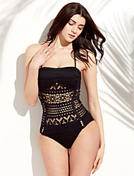 Women's Halter One-piece,Lace Up / Geometric Polyester White / Black