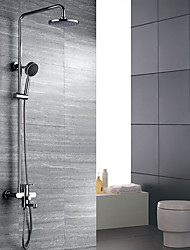 Art Deco/Retro Wall Mounted Handshower Included with  Ceramic Valve Two Handles Three Holes for  Chrome , Shower Faucet