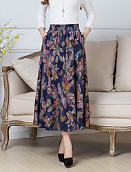 Women's Casual/Daily Midi Skirts A Line Floral Floral Spring Summer