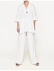 Damen Solide Sexy Einfach Street Schick Ausgehen Lässig/Alltäglich T-shirt,V-Ausschnitt Sommer ¾-Arm Seide Baumwolle Mittel