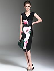 Women's Going out Work Sexy Street chic Fashion Bodycon Dress Print V Neck Asymmetrical Sleeveless Polyester Summer