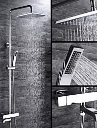 Contemporain Set de centre Thermostatique with  Soupape céramique Deux poignées trois trous for  Chrome , Robinet de douche