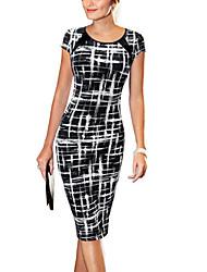 TS Women's Sexy / Vintage Print Bodycon Dress,Round Neck Knee-length Cotton / Polyester