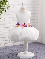 Ball Gown Knee-length Flower Girl Dress - Tulle Jewel with Flower(s) Pick Up Skirt