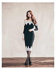 2016 Korean version of the new women stitching collar long-sleeved lace dress was thin