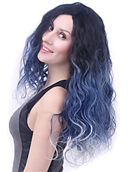 Long Body Wave Granny Grey Women Synthetic Wig Fiber Cheap Cosplay Party Hair