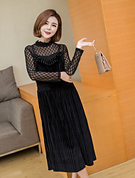 Women's Casual/Daily Simple A Line Dress,Solid Crew Neck Midi Long Sleeve Polyester Spring Summer Low Rise Micro-elastic Thin