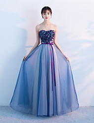 Formal Evening Dress A-line Strapless Floor-length Tulle with Beading Flower(s) Sash / Ribbon