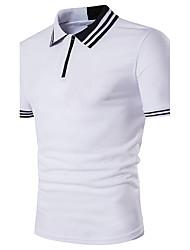 Для мужчин На каждый день Пляж Лето Polo Рубашечный воротник,Простое Активный Контрастных цветов С короткими рукавами,Хлопок,Средняя