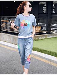 Mujer Sencillo Casual/Diario All Seasons T-Shirt Vestidos Trajes,Hombros Caídos Un Color Algodón